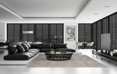 Interior of the modern design  loft with black sofa  3D rendering