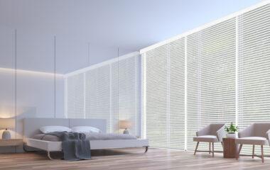 Modern white bedroom minimal style 3d rendering image.The room h