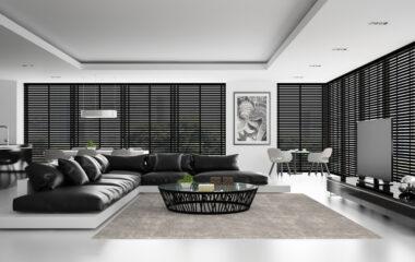Interior of the modern design  loft with black sofa  3D renderin
